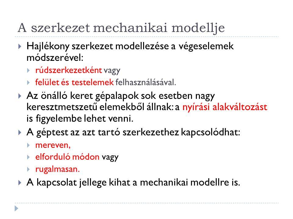 A szerkezet mechanikai modellje  Hajlékony szerkezet modellezése a végeselemek módszerével:  rúdszerkezetként vagy  felület és testelemek felhasználásával.