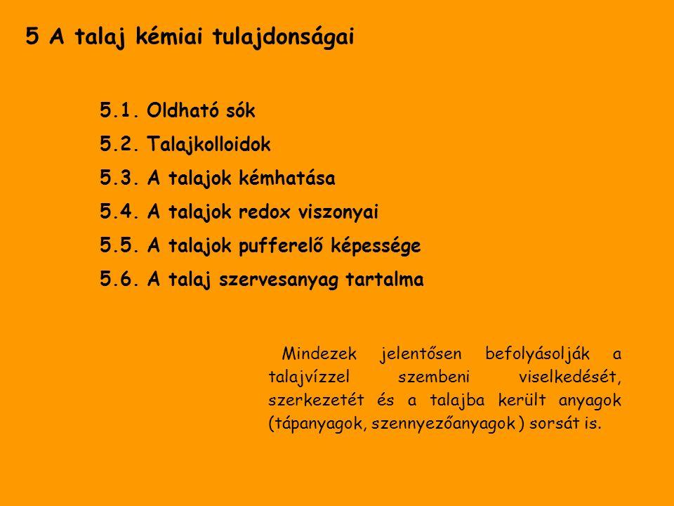 5 A talaj kémiai tulajdonságai 5.1. Oldható sók 5.2. Talajkolloidok 5.3. A talajok kémhatása 5.4. A talajok redox viszonyai 5.5. A talajok pufferelő k