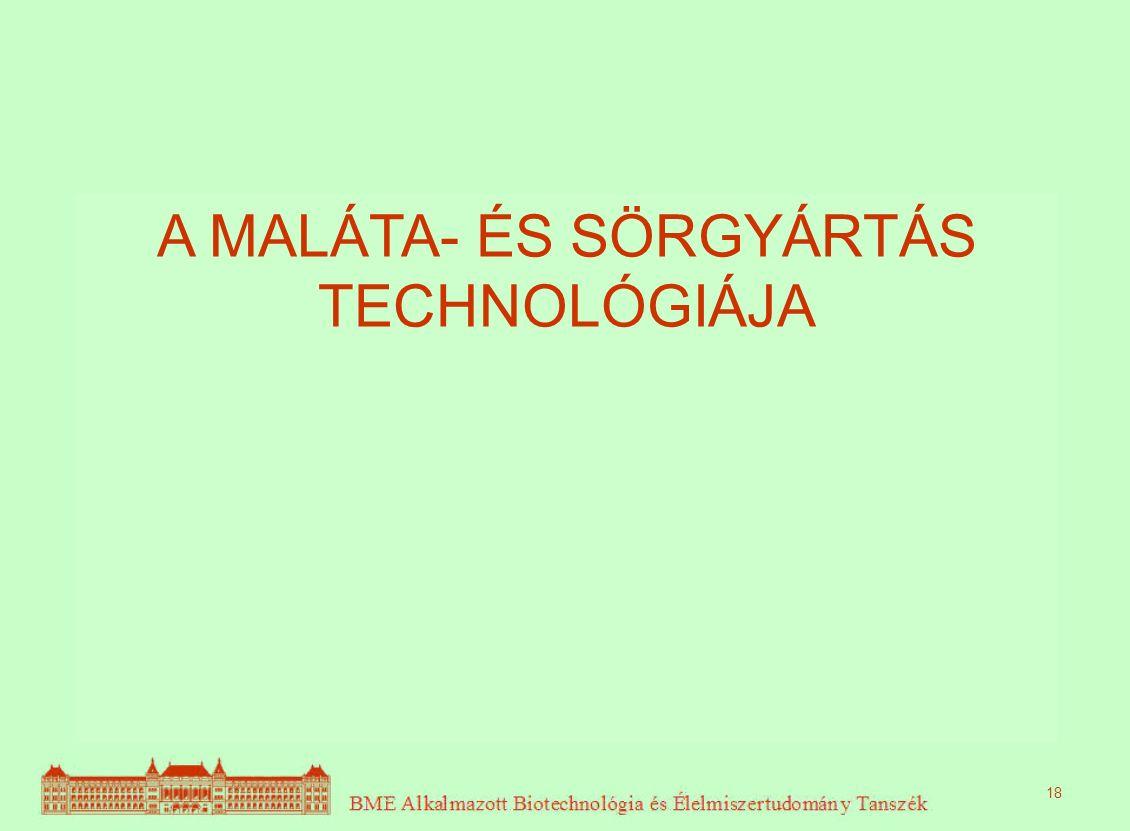 A MALÁTA- ÉS SÖRGYÁRTÁS TECHNOLÓGIÁJA 18