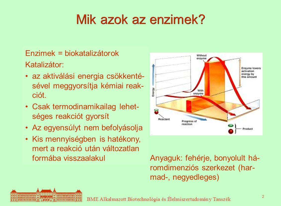 Mik azok az enzimek? Enzimek = biokatalizátorok Katalizátor: az aktiválási energia csökkenté- sével meggyorsítja kémiai reak- ciót. Csak termodinamika