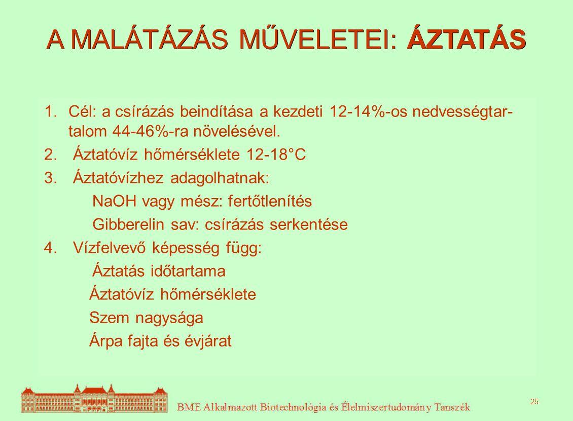 A MALÁTÁZÁS MŰVELETEI: ÁZTATÁS 1.Cél: a csírázás beindítása a kezdeti 12-14%-os nedvességtar- talom 44-46%-ra növelésével. 2. Áztatóvíz hőmérséklete 1