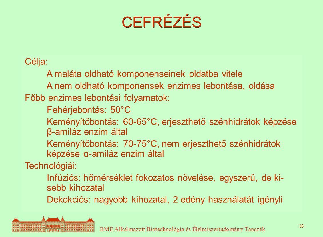 CEFRÉZÉS Célja: A maláta oldható komponenseinek oldatba vitele A nem oldható komponensek enzimes lebontása, oldása Főbb enzimes lebontási folyamatok: Fehérjebontás: 50°C Keményítőbontás: 60-65°C, erjeszthető szénhidrátok képzése β-amiláz enzim által Keményítőbontás: 70-75°C, nem erjeszthető szénhidrátok képzése α-amiláz enzim által Technológiái: Infúziós: hőmérséklet fokozatos növelése, egyszerű, de ki- sebb kihozatal Dekokciós: nagyobb kihozatal, 2 edény használatát igényli 36