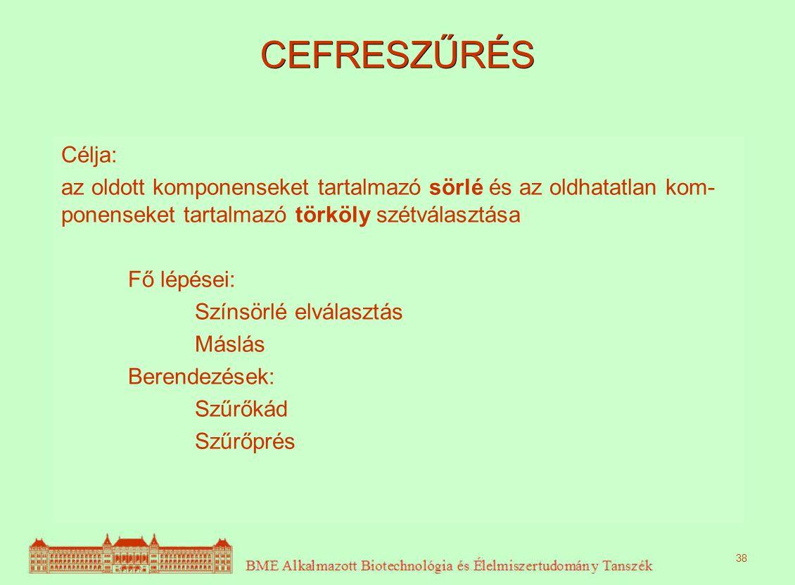 CEFRESZŰRÉS Célja: az oldott komponenseket tartalmazó sörlé és az oldhatatlan kom- ponenseket tartalmazó törköly szétválasztása Fő lépései: Színsörlé elválasztás Máslás Berendezések: Szűrőkád Szűrőprés 38
