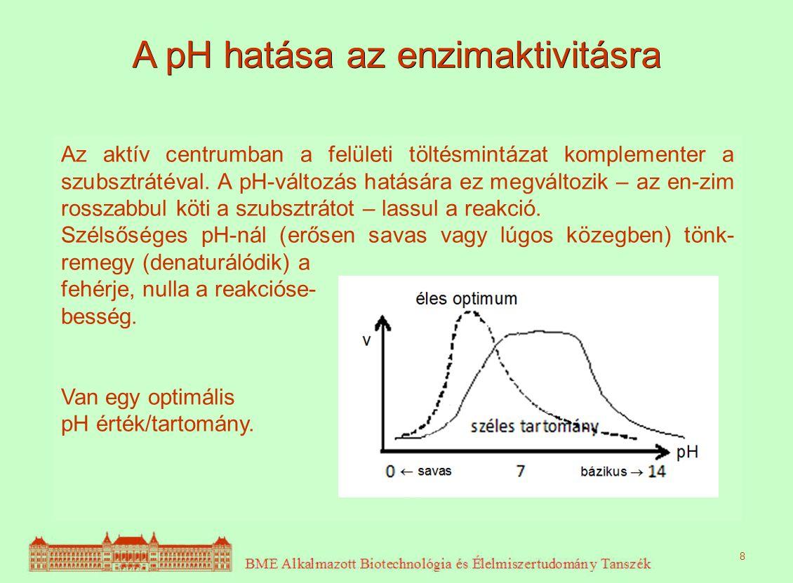A pH hatása az enzimaktivitásra Az aktív centrumban a felületi töltésmintázat komplementer a szubsztrátéval. A pH-változás hatására ez megváltozik – a