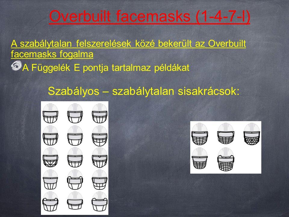 Overbuilt facemasks (1-4-7-l) A szabálytalan felszerelések közé bekerült az Overbuilt facemasks fogalma A Függelék E pontja tartalmaz példákat Szabályos – szabálytalan sisakrácsok: