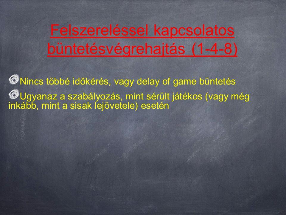Felszereléssel kapcsolatos büntetésvégrehajtás (1-4-8) Nincs többé időkérés, vagy delay of game büntetés Ugyanaz a szabályozás, mint sérült játékos (vagy még inkább, mint a sisak lejövetele) esetén