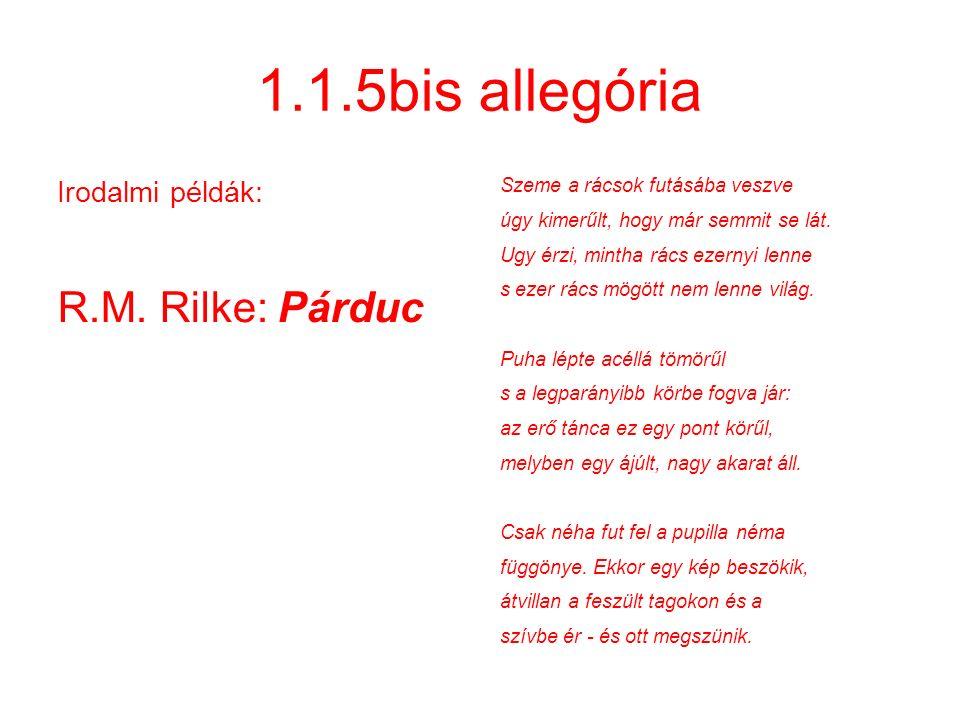 1.1.5bis allegória Irodalmi példák: R.M. Rilke: Párduc Szeme a rácsok futásába veszve úgy kimerűlt, hogy már semmit se lát. Ugy érzi, mintha rács ezer