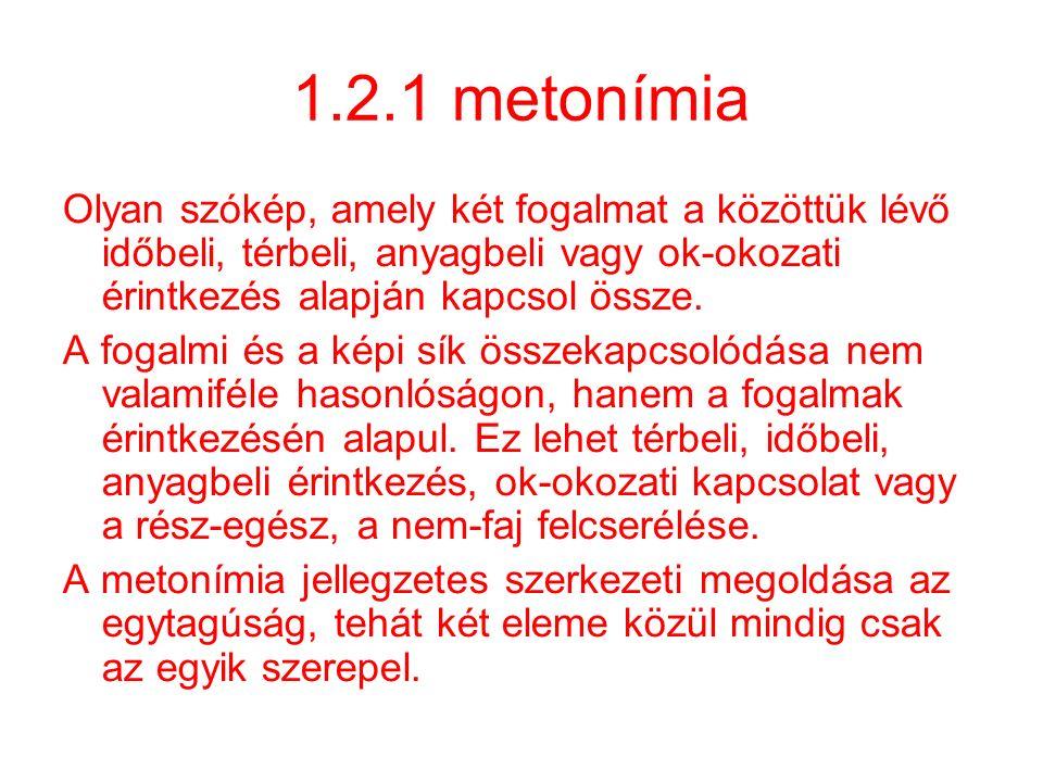 1.2.1 metonímia Olyan szókép, amely két fogalmat a közöttük lévő időbeli, térbeli, anyagbeli vagy ok-okozati érintkezés alapján kapcsol össze. A fogal