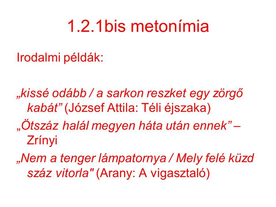 """1.2.1bis metonímia Irodalmi példák: """"kissé odább / a sarkon reszket egy zörgő kabát"""" (József Attila: Téli éjszaka) """"Ötszáz halál megyen háta után enne"""