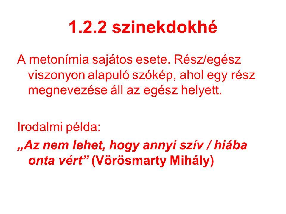 1.2.2 szinekdokhé A metonímia sajátos esete.
