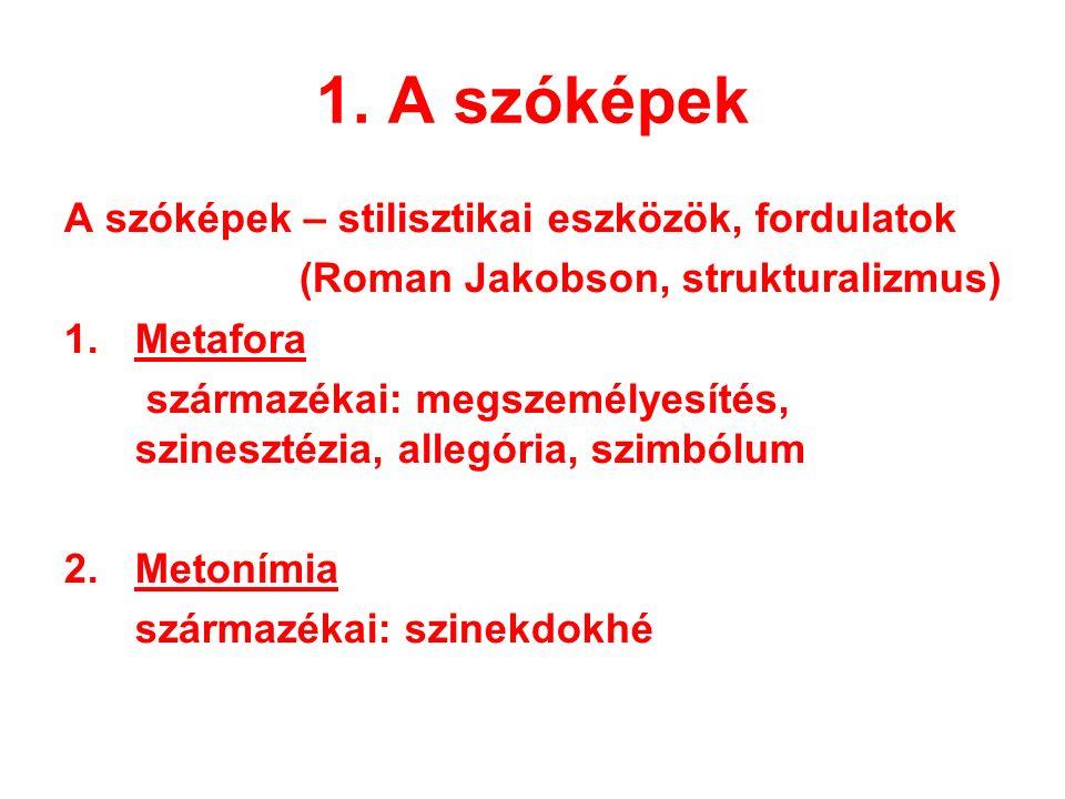 1. A szóképek A szóképek – stilisztikai eszközök, fordulatok (Roman Jakobson, strukturalizmus) 1. Metafora származékai: megszemélyesítés, szinesztézia