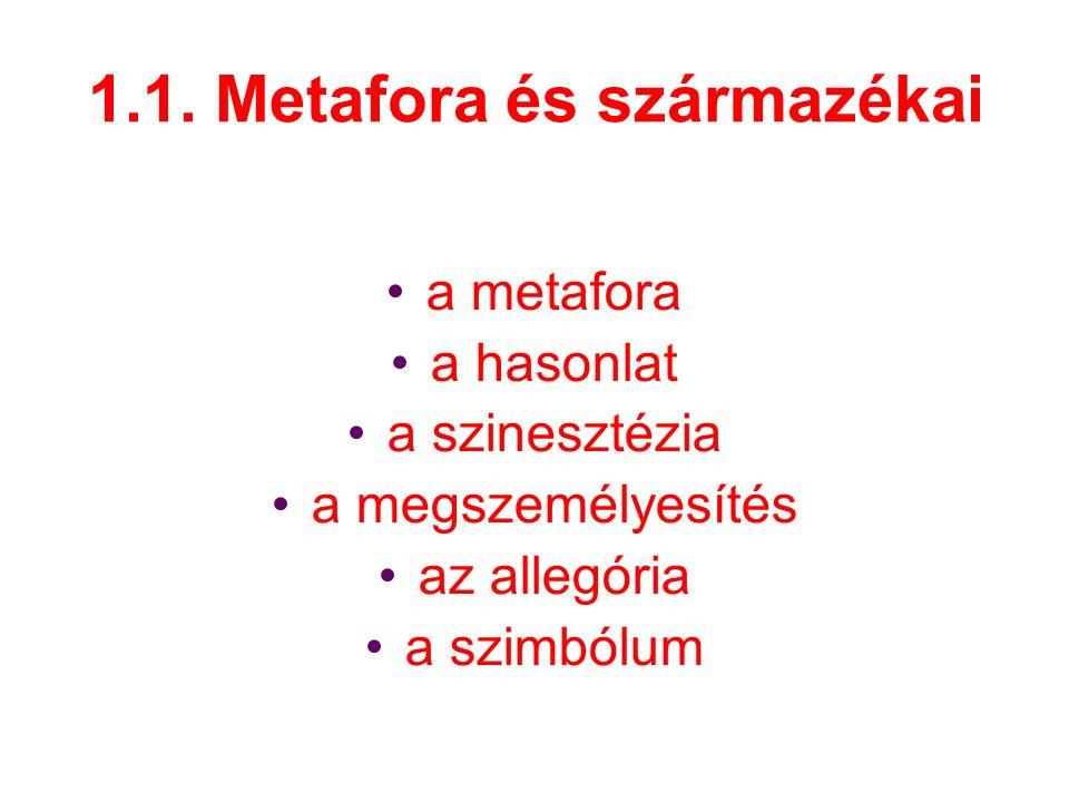 1.1. Metafora és származékai a metafora a hasonlat a szinesztézia a megszemélyesítés az allegória a szimbólum