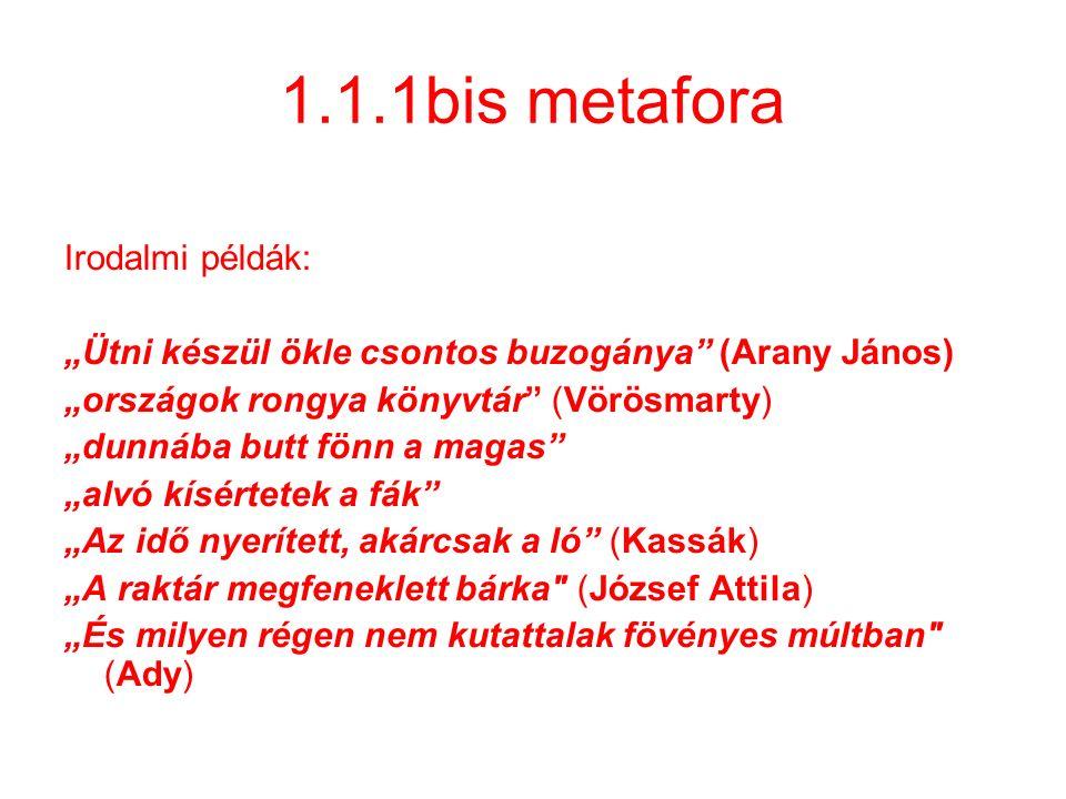 """1.1.1bis metafora Irodalmi példák: """"Ütni készül ökle csontos buzogánya"""" (Arany János) """"országok rongya könyvtár"""" (Vörösmarty) """"dunnába butt fönn a mag"""