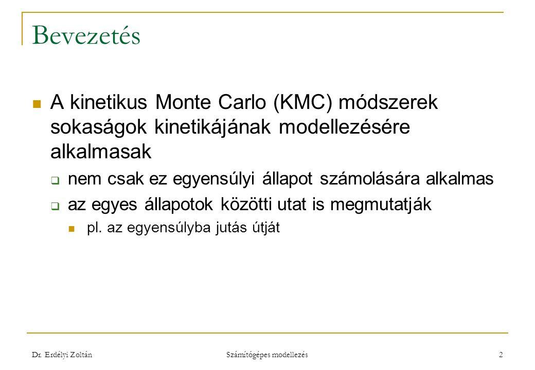 Bevezetés A kinetikus Monte Carlo (KMC) módszerek sokaságok kinetikájának modellezésére alkalmasak  nem csak ez egyensúlyi állapot számolására alkalmas  az egyes állapotok közötti utat is megmutatják pl.