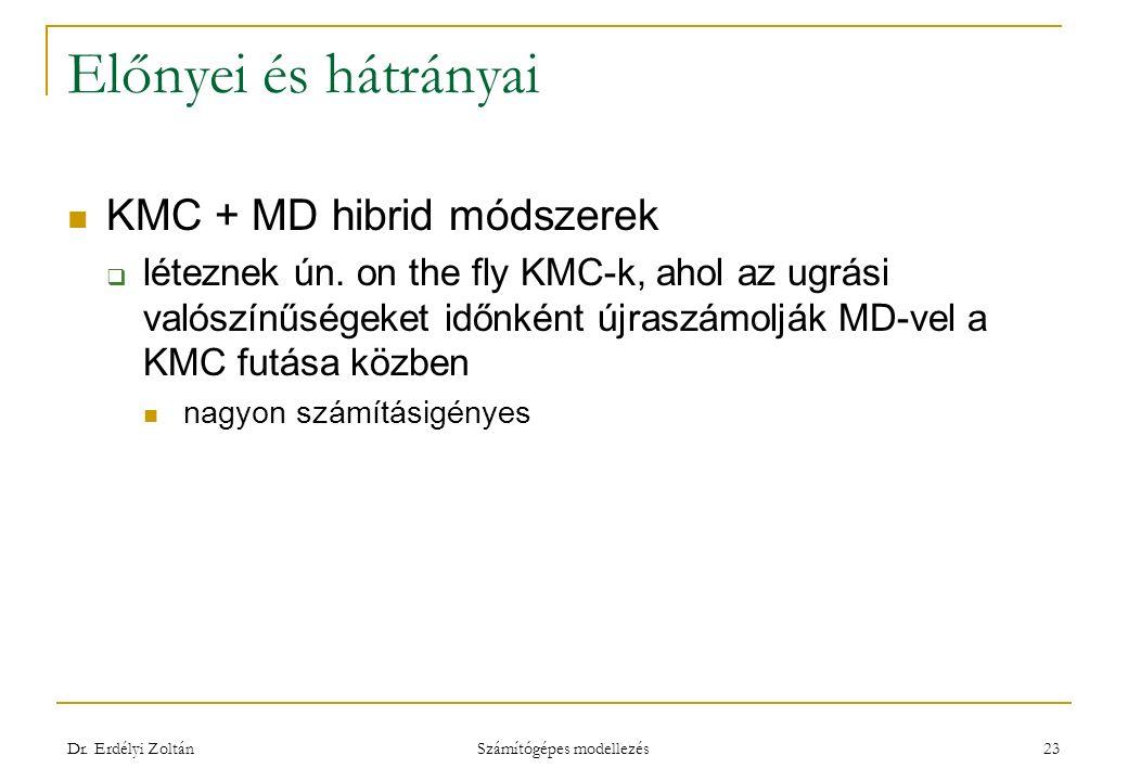 Előnyei és hátrányai KMC + MD hibrid módszerek  léteznek ún.