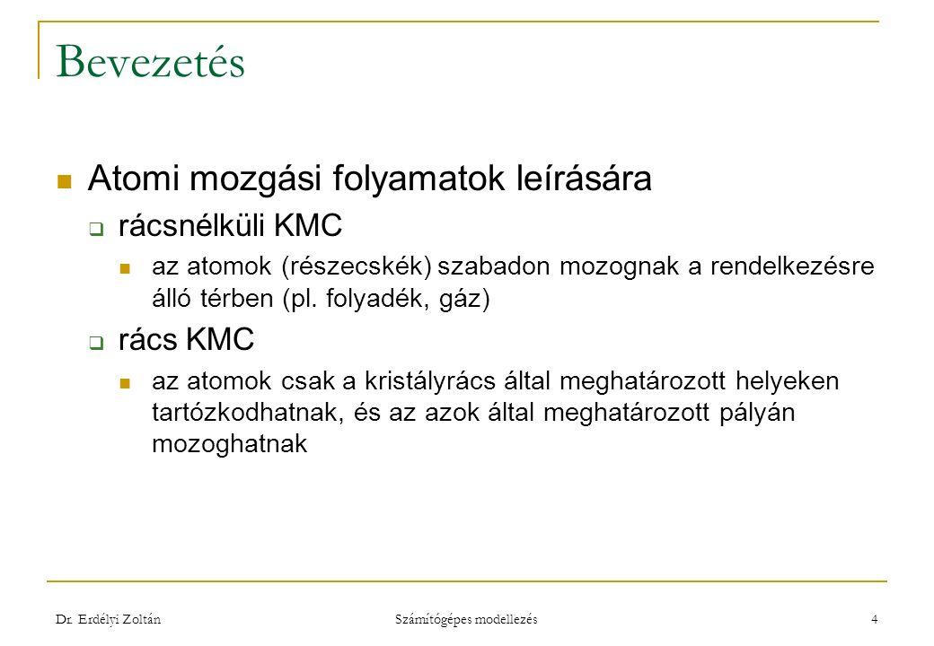 Bevezetés Atomi mozgási folyamatok leírására  rácsnélküli KMC az atomok (részecskék) szabadon mozognak a rendelkezésre álló térben (pl.