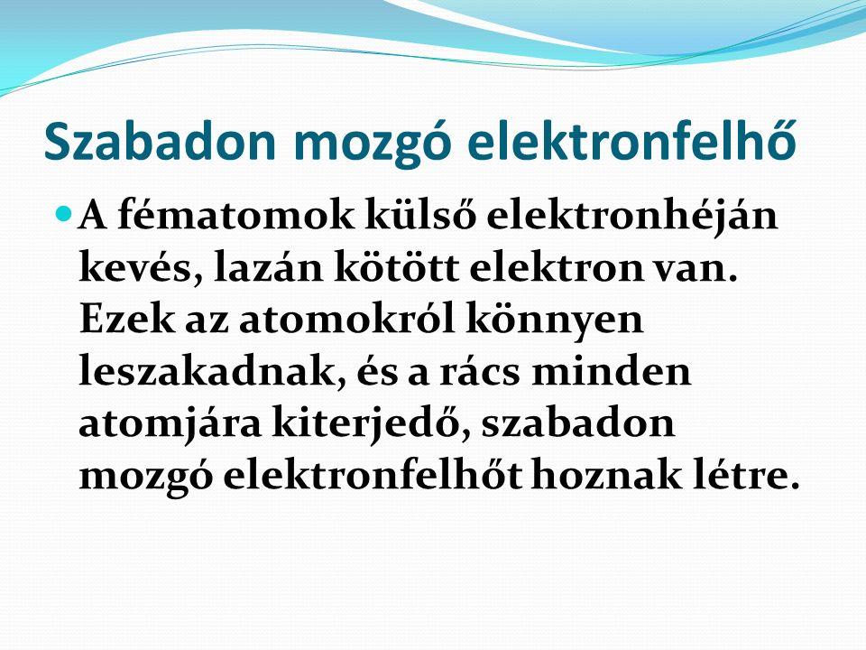 Szabadon mozgó elektronfelhő A fématomok külső elektronhéján kevés, lazán kötött elektron van.