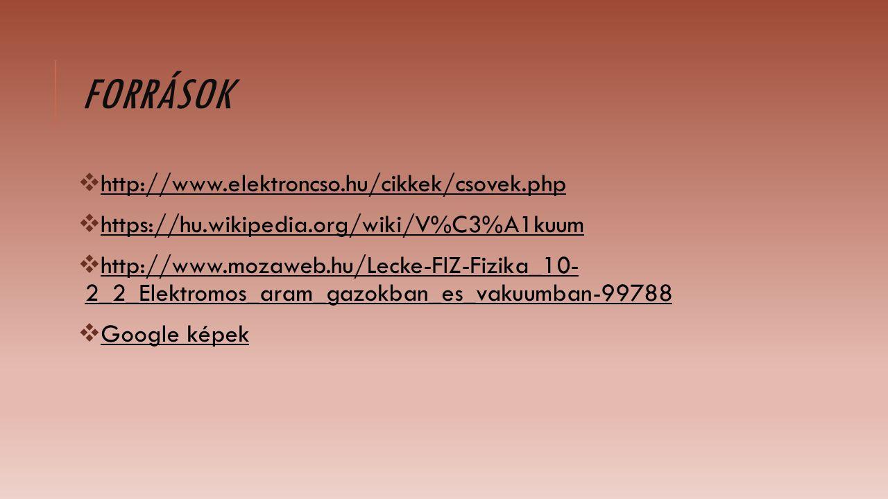 FORRÁSOK  http://www.elektroncso.hu/cikkek/csovek.php  https://hu.wikipedia.org/wiki/V%C3%A1kuum  http://www.mozaweb.hu/Lecke-FIZ-Fizika_10- 2_2_Elektromos_aram_gazokban_es_vakuumban-99788  Google képek
