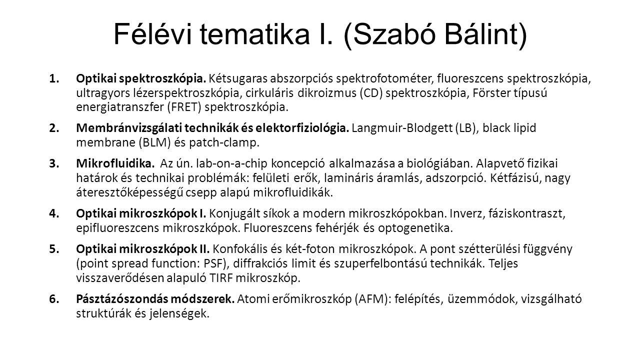 Félévi tematika I. (Szabó Bálint) 1.Optikai spektroszkópia.