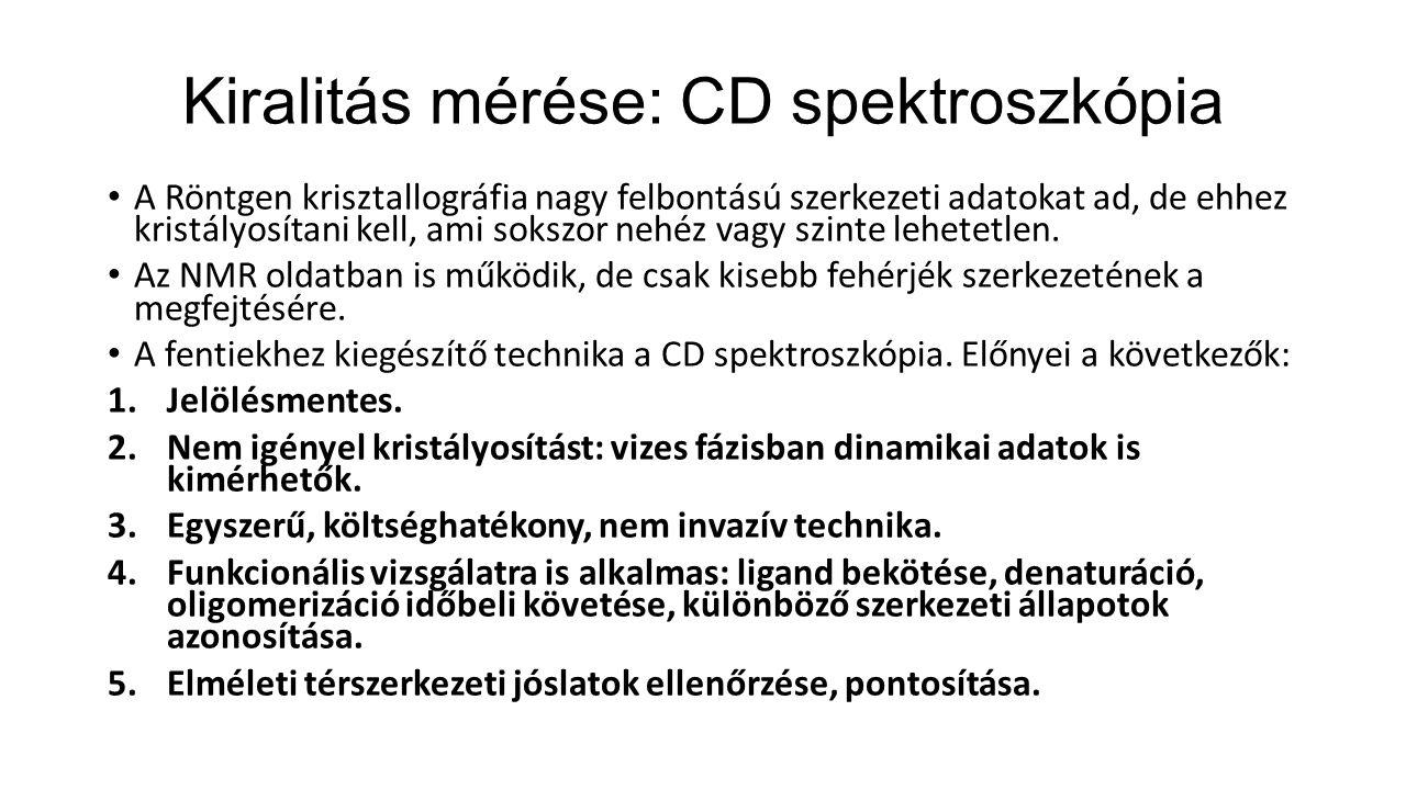 Kiralitás mérése: CD spektroszkópia A Röntgen krisztallográfia nagy felbontású szerkezeti adatokat ad, de ehhez kristályosítani kell, ami sokszor nehéz vagy szinte lehetetlen.