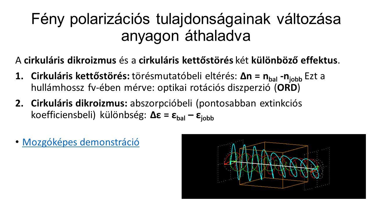 Fény polarizációs tulajdonságainak változása anyagon áthaladva A cirkuláris dikroizmus és a cirkuláris kettőstörés két különböző effektus.