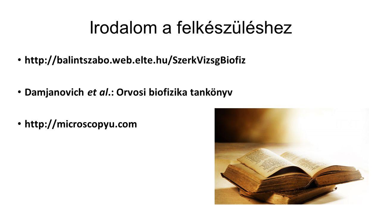 Irodalom a felkészüléshez http://balintszabo.web.elte.hu/SzerkVizsgBiofiz Damjanovich et al.: Orvosi biofizika tankönyv http://microscopyu.com