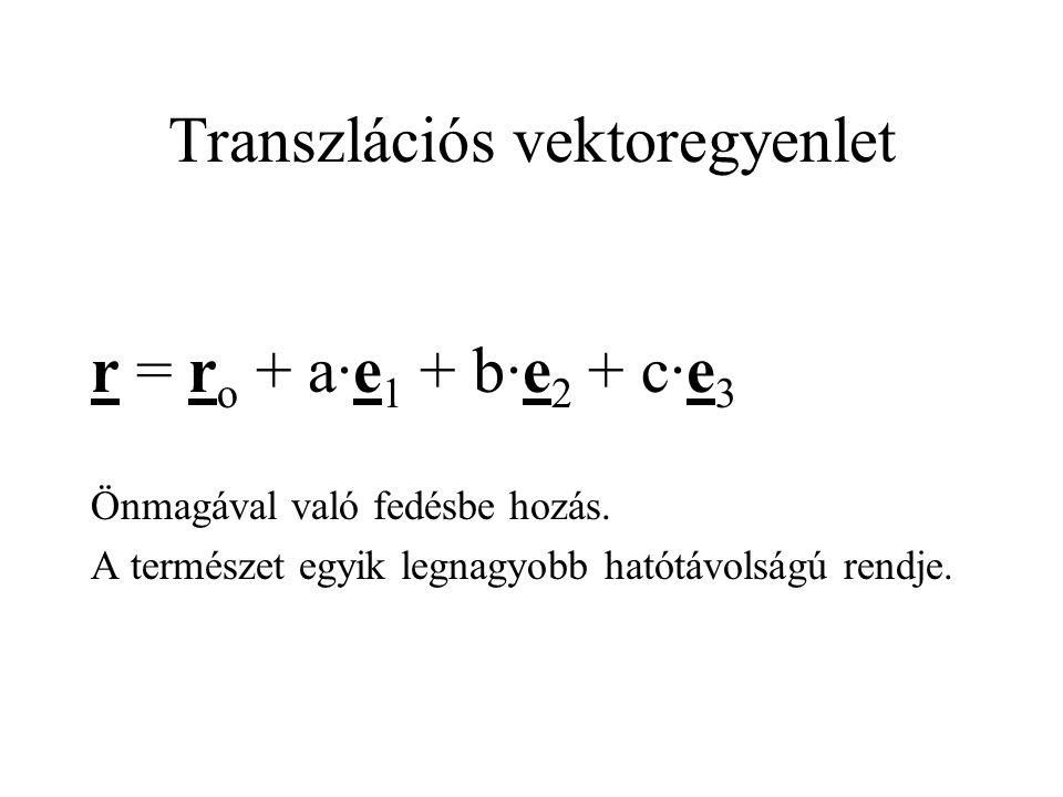 Transzlációs vektoregyenlet r = r o + a·e 1 + b·e 2 + c·e 3 Önmagával való fedésbe hozás. A természet egyik legnagyobb hatótávolságú rendje.