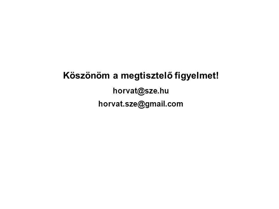 Köszönöm a megtisztelő figyelmet! horvat@sze.hu horvat.sze@gmail.com