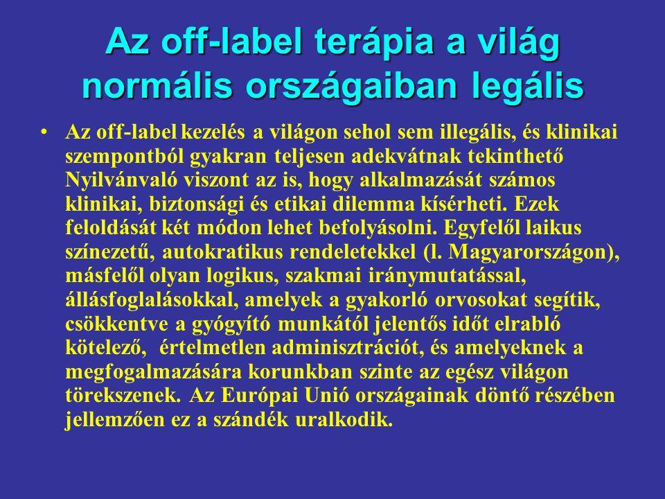 Az off-label terápia a világ normális országaiban legális Az off-label kezelés a világon sehol sem illegális, és klinikai szempontból gyakran teljesen adekvátnak tekinthető Nyilvánvaló viszont az is, hogy alkalmazását számos klinikai, biztonsági és etikai dilemma kísérheti.