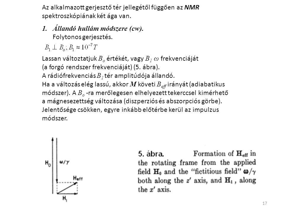 17 Az alkalmazott gerjesztő tér jellegétől függően az NMR spektroszkópiának két ága van.