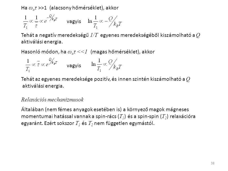 38 Ha ω o τ >>1 (alacsony hőmérséklet), akkor vagyis Tehát a negatív meredekségű 1/T egyenes meredekségéből kiszámolható a Q aktiválási energia.