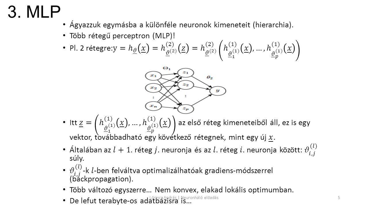 3. MLP Lőrincz András | Neuronháló előadás5