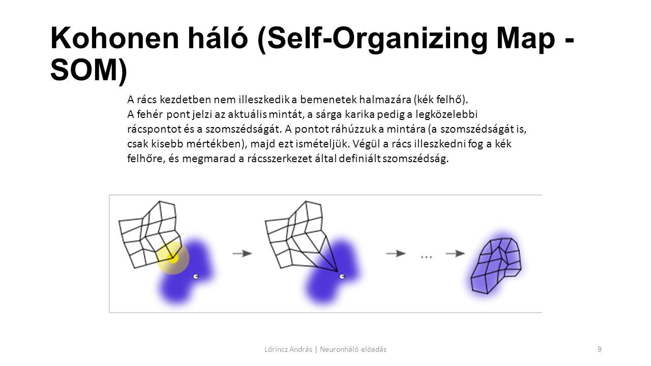 Kohonen háló (Self-Organizing Map - SOM) Lőrincz András | Neuronháló előadás9 A rács kezdetben nem illeszkedik a bemenetek halmazára (kék felhő). A fe