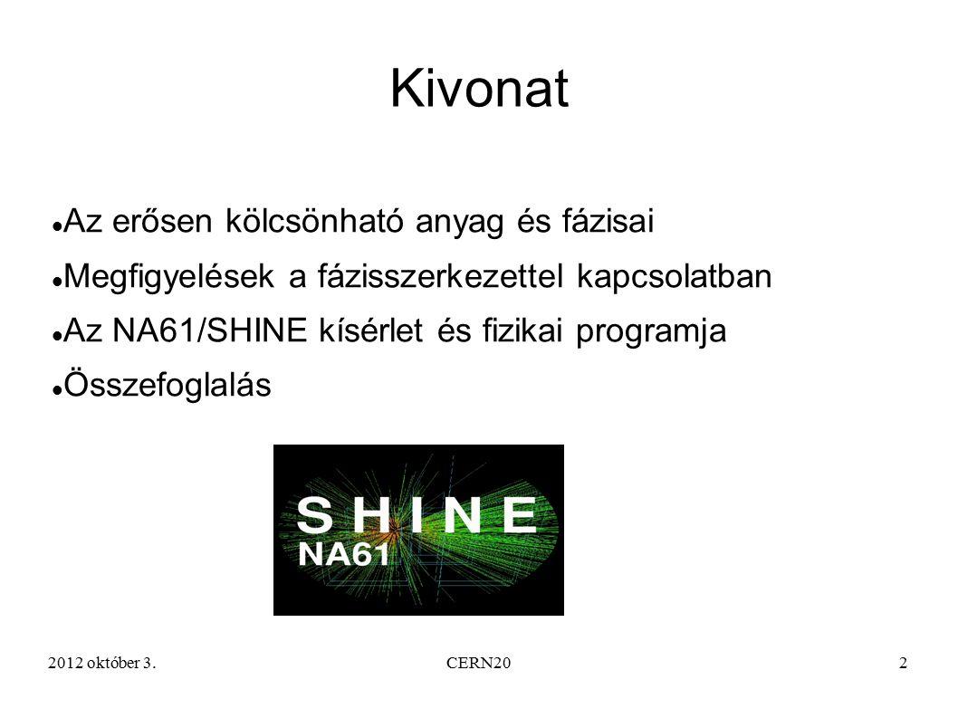 2012 október 3.CERN202 Kivonat Az erősen kölcsönható anyag és fázisai Megfigyelések a fázisszerkezettel kapcsolatban Az NA61/SHINE kísérlet és fizikai programja Összefoglalás