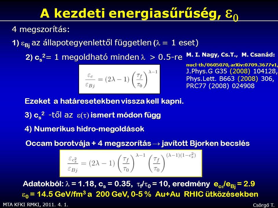 MTA KFKI RMKI, 2011. 4. 1. Csörgő T. A kezdeti energiasűrűség,   4 megszorítás: 1)  Bj az állapotegyenlettől független ( = 1 eset)  2) c s 2 = 1