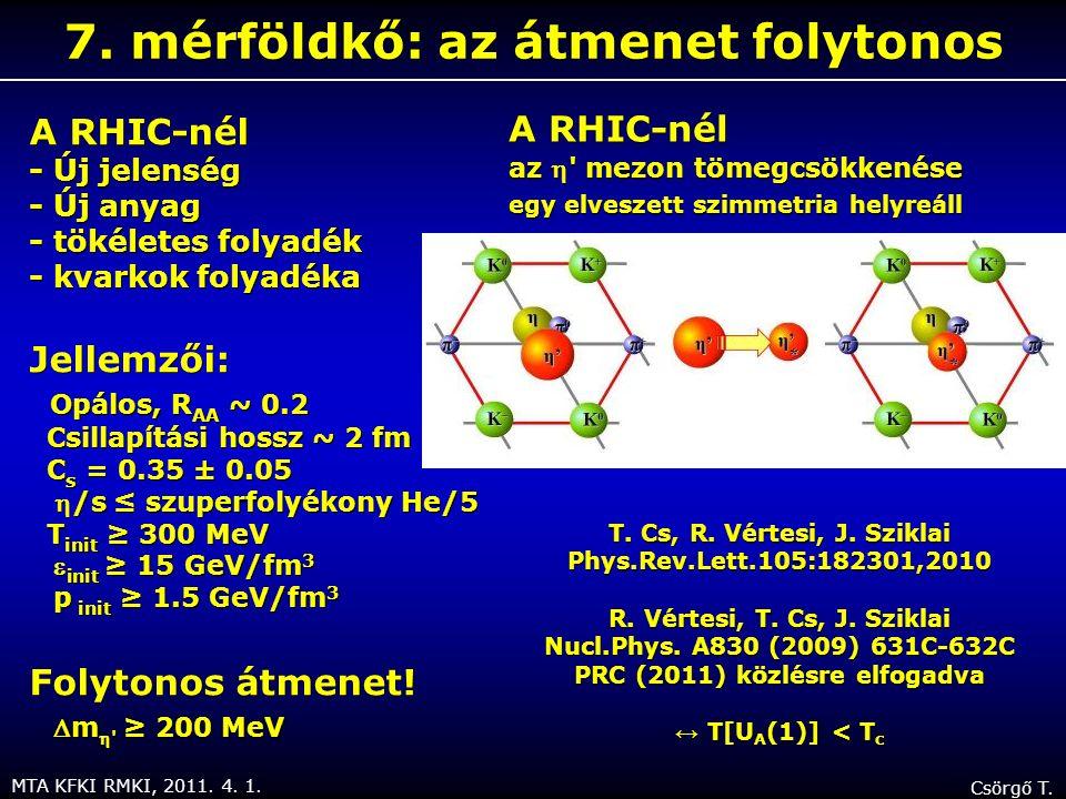 MTA KFKI RMKI, 2011. 4. 1. Csörgő T. 7. mérföldkő: az átmenet folytonos A RHIC-nél - Új jelenség - Új anyag - tökéletes folyadék - kvarkok folyadéka J