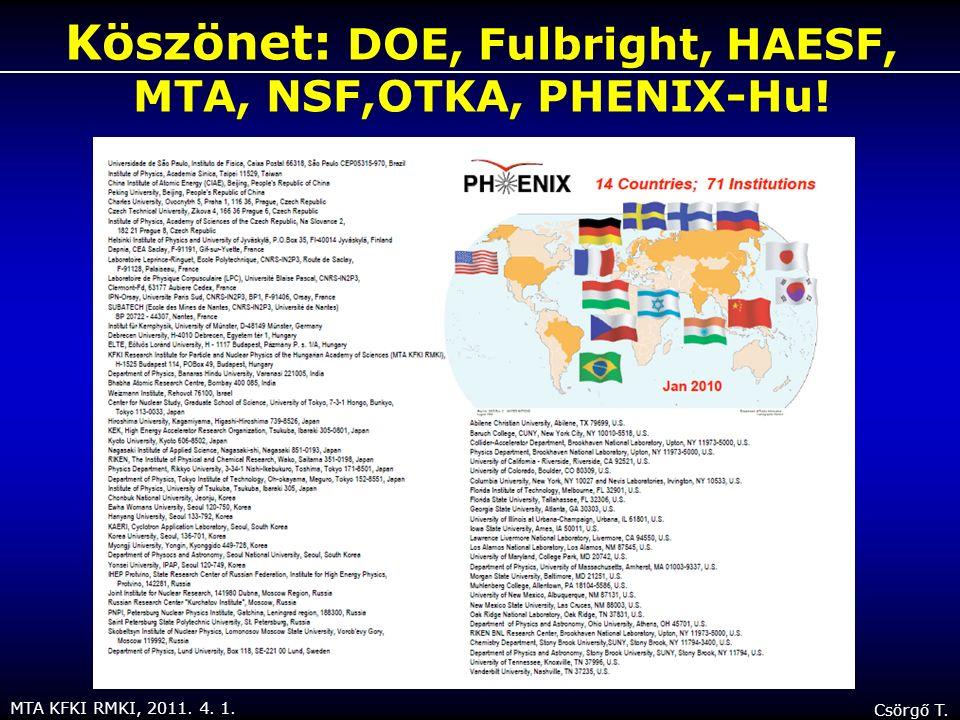 MTA KFKI RMKI, 2011. 4. 1. Csörgő T. Köszönet: DOE, Fulbright, HAESF, MTA, NSF,OTKA, PHENIX-Hu!