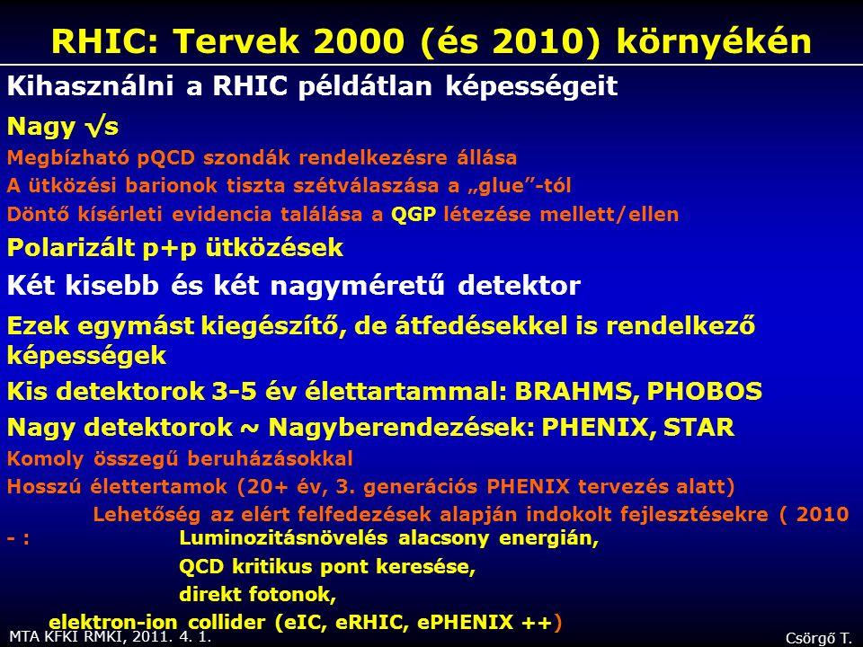 MTA KFKI RMKI, 2011. 4. 1. Csörgő T. Kihasználni a RHIC példátlan képességeit Nagy √s Megbízható pQCD szondák rendelkezésre állása A ütközési barionok