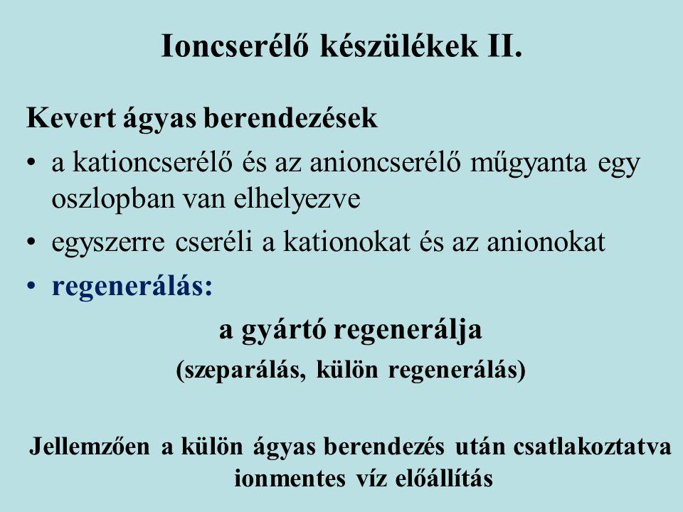 Ioncserélő készülékek II.