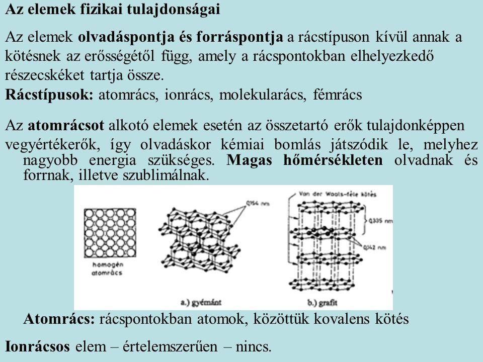 Az elemek fizikai tulajdonságai Az elemek olvadáspontja és forráspontja a rácstípuson kívül annak a kötésnek az erősségétől függ, amely a rácspontokban elhelyezkedő részecskéket tartja össze.