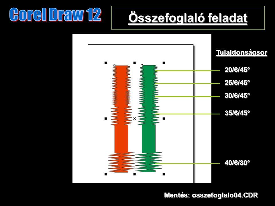 Összefoglaló feladat Mentés: osszefoglalo04.CDR 20/6/45° 25/6/45° 30/6/45° 35/6/45° 40/6/30° Tulajdonságsor