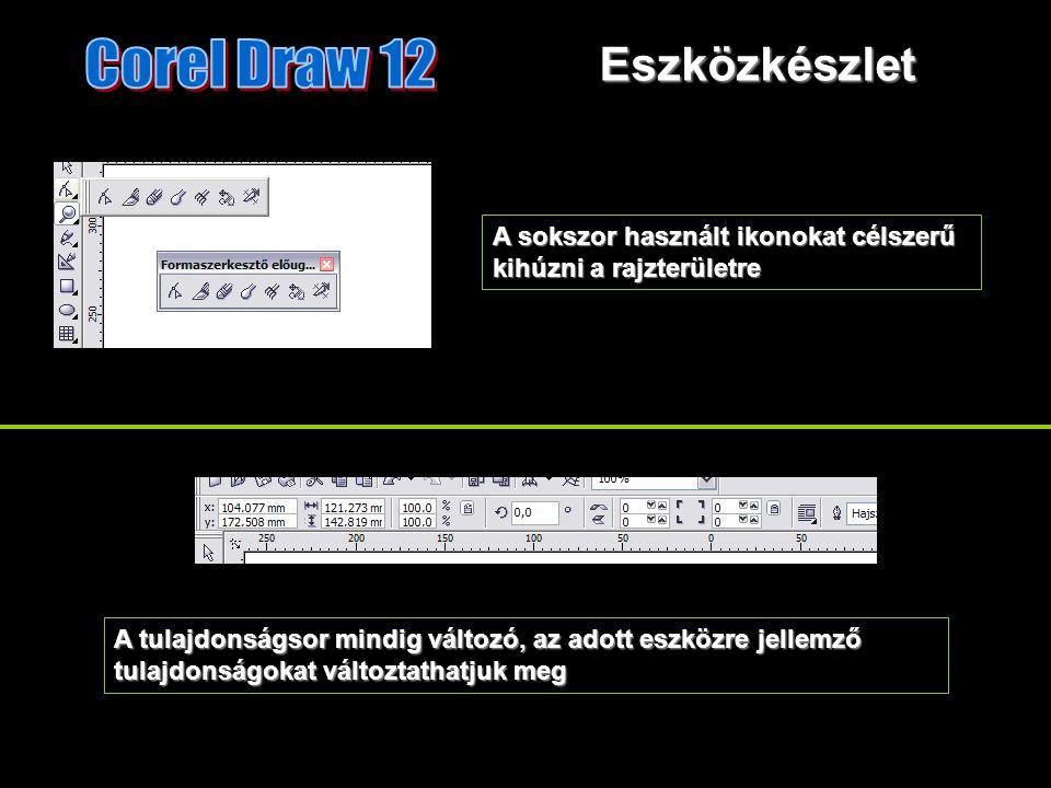Eszközkészlet A sokszor használt ikonokat célszerű kihúzni a rajzterületre A tulajdonságsor mindig változó, az adott eszközre jellemző tulajdonságokat változtathatjuk meg