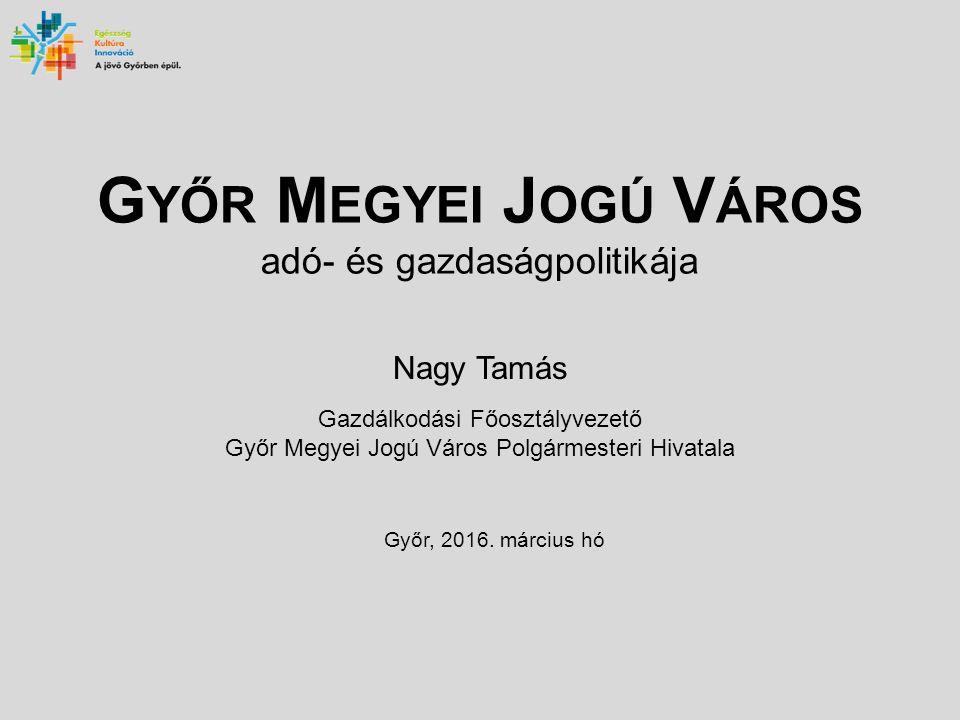 G YŐR M EGYEI J OGÚ V ÁROS adó- és gazdaságpolitikája Nagy Tamás Gazdálkodási Főosztályvezető Győr Megyei Jogú Város Polgármesteri Hivatala Győr, 2016.