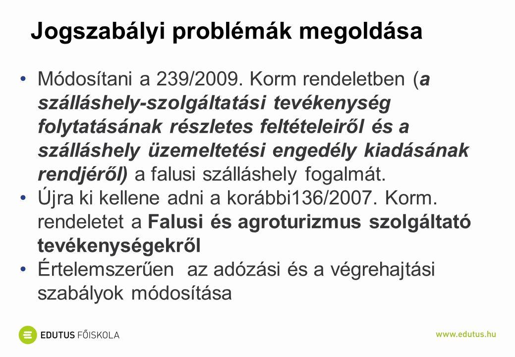 Jogszabályi problémák megoldása Módosítani a 239/2009.