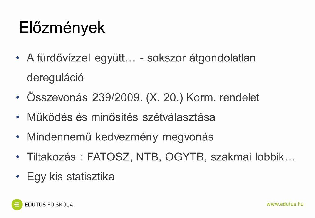 Előzmények A fürdővízzel együtt… - sokszor átgondolatlan dereguláció Összevonás 239/2009.