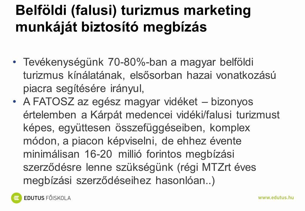 Belföldi (falusi) turizmus marketing munkáját biztosító megbízás Tevékenységünk 70-80%-ban a magyar belföldi turizmus kínálatának, elsősorban hazai vonatkozású piacra segítésére irányul, A FATOSZ az egész magyar vidéket – bizonyos értelemben a Kárpát medencei vidéki/falusi turizmust képes, együttesen összefüggéseiben, komplex módon, a piacon képviselni, de ehhez évente minimálisan 16-20 millió forintos megbízási szerződésre lenne szükségünk (régi MTZrt éves megbízási szerződéseihez hasonlóan..)