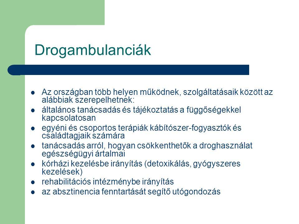 Drogambulanciák Az országban több helyen működnek, szolgáltatásaik között az alábbiak szerepelhetnek: általános tanácsadás és tájékoztatás a függősége