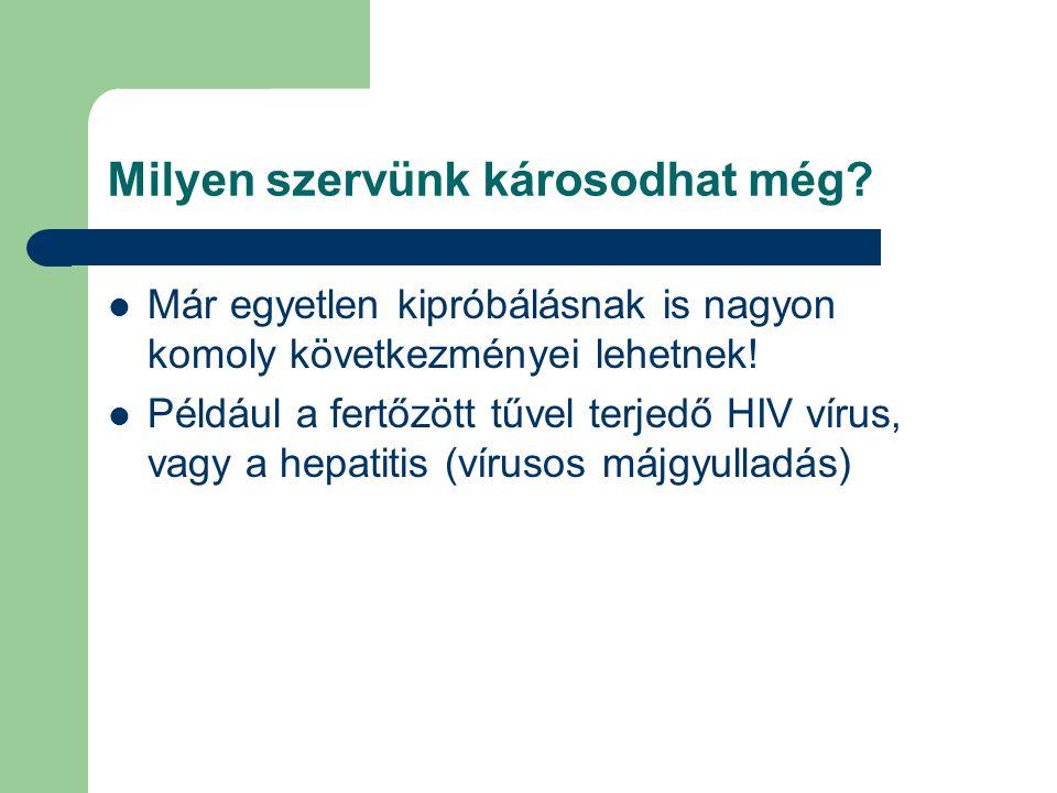 Milyen szervünk károsodhat még? Már egyetlen kipróbálásnak is nagyon komoly következményei lehetnek! Például a fertőzött tűvel terjedő HIV vírus, vagy