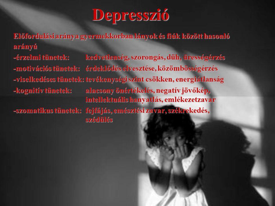 Depresszió Előfordulási aránya gyermekkorban lányok és fiúk között hasonló arányú -érzelmi tünetek:kedvetlenség, szorongás, düh, ürességérzés -motivác