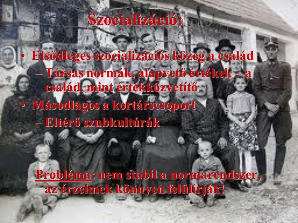 Szocializáció: Elsődleges szocializációs közeg a családElsődleges szocializációs közeg a család –Társas normák, alapvető értékek – a család, mint érté